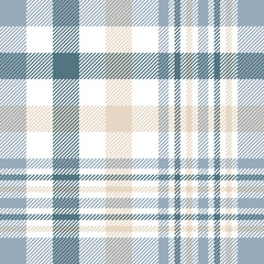 Seamless tartan plaid pattern. Traditional checkered fabric print in palette of beige, white, dusty teal green and grayish blue.