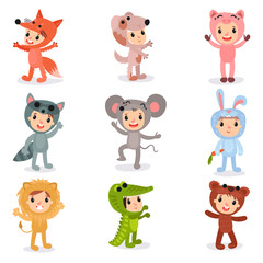 Set of cartoon little kids characters in animal costumes fox, puppy, pig, raccoon, mouse, bunny, lion, crocodile and bear. Isolated flat vector design