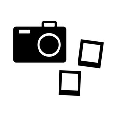 Black and white camera icon. Vector illustration