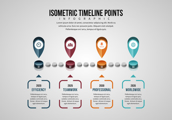 Isometric Timeline Points Infographic