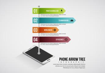 Mobile Phone Arrow Tree Infographic