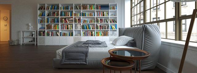 Camera da letto con libreria, illustrazione 3d, rendering