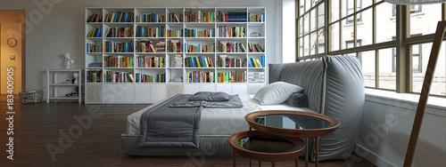 Camera da letto con libreria, illustrazione 3d, rendering\