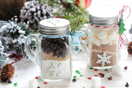Homemade Chocolate chip cookie mix in a glass jar for xmas holiday gift,selective focus