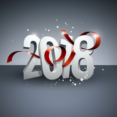 2018 bonne année ruban rouge