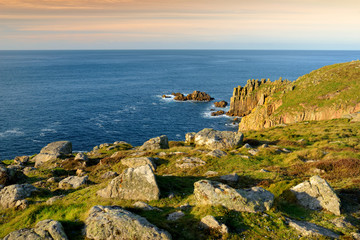 Rough and rocky shore near Land's End, the most westerly point of England, Cornwall