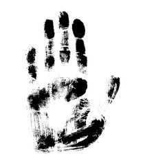 Print of hand of human, cute skin texture pattern,vector grunge illustration. Scanning the fingers, palm on white background..