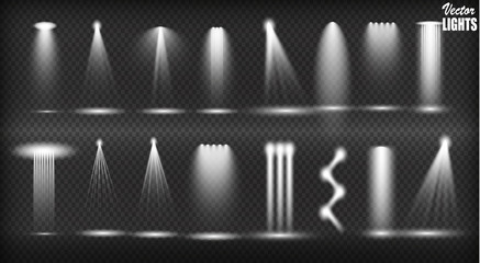 In de dag Licht, schaduw Vector light sources, concert lighting, stage spotlights set. Concert spotlight with beam, illuminated spotlights for web design illustration