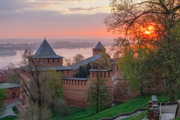 Fortress Kremlin in the Russian city of Nizhny Novgorod in the early spring morning at dawn against the background of the Volga River