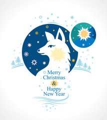 Beautiful postcard to Merry Christmas and Happy New Year. Vector illustration with winter stars and northern white dog. Decorative design.