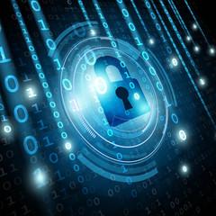 Padlock on matrix binary background. Network security concept. Vector illustration