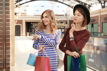 Beautiful women with shopping bags at strip mall