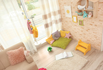 Modern room interior with soft white carpet