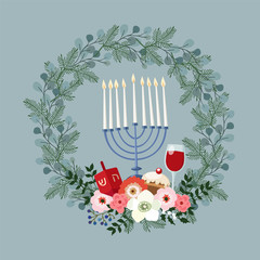 Happy Hanukkah greeting card, invitation with hand drawn candleholder, dreidle, donut and floral wreath. Vector illustration for Jewish Festival of light.