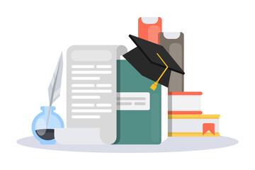 Graduation hat with books.