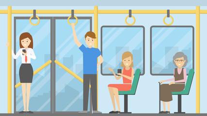 People in public transport.