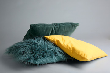 Soft pillows on light background