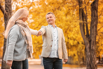 Mature couple walking in park on autumn day