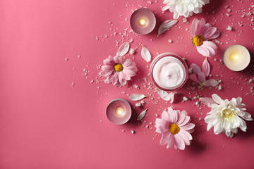 Beautiful composition with jar of body cream on color background