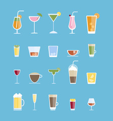 Alcohol drinks set.