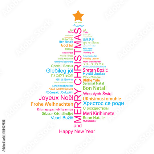 Merry christmas and happy new year in different languages in the merry christmas and happy new year in different languages in the shape of christmas three m4hsunfo