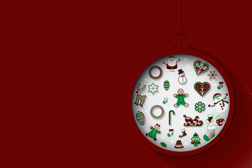 Greeting card with Christmas ornament, vector