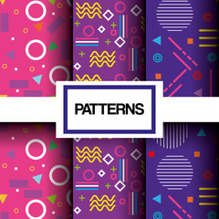 lines figures and colors patterns set vector illustration