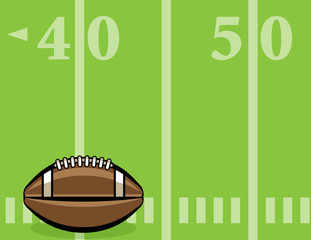 American Football Ball and Field Background Illustration