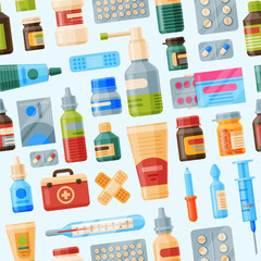 Medical instruments first-aid set outfit medicine chest and doctor tools flat medicament medication hospital health treatment vector illustration seamless pattern background