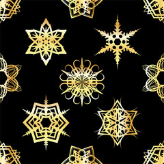 Golden Snowflakes Tiled Pattern Background Illustration