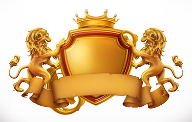 Crown, lions and shield. 3d vector icon