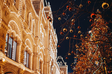 Shopping center GUM illuminated at night. Moscow, Russia. Christmas winter decorated