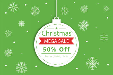 Christmas ball Merry Christmas, lettering template. Greeting card or invitation. Sale
