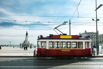 Vintage tramway at the Commerce Square in Lisbon, Portugal