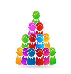 Global Family human shapes concept tree design . Group of people gather around vector design