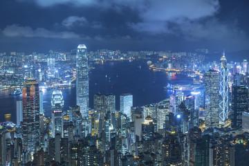 Victoria Harbor of Hong Kong city at night