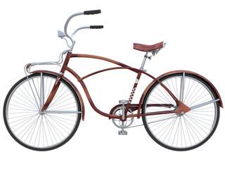 red old vintage bicycle 3d rendering