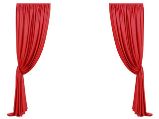 curtain of a theater or a opera opening on a white background 3d rendering