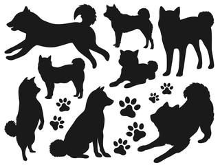 犬のシルエット素材セット
