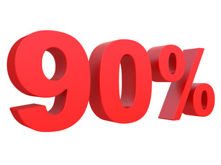 percent off. Discount %. 3d red text on a white background 3d rendering