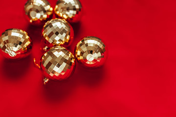 Christmas background. Balls of gold. Toys.