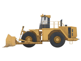 bulldozer or tractor dirty on a white background isolated isometric view 3d rendering