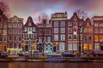 Historic Canal houses on the Brouwersgracht in Amsterdam in vintage toning