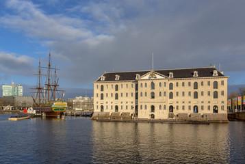 Scheepvaartmuseum Amsterdam on sunny day