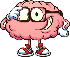 Nerdy cartoon brain adjusting glasses. Vector clip art illustration with simple gradients. All in a single layer.