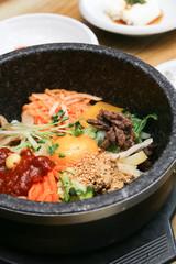 Bibimbap, a popular korean mixed rice dish.