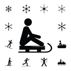 silhouette of a man riding a sleigh icon. Set of elements Christmas Holiday or New Year icons. Winter time premium quality graphic design collection icons for websites, web design