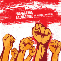 Propaganda Poster Style Revolution Fist Raised In The Air. Clenched Fist