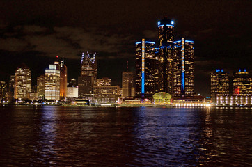 Detroit Night Cityscape or Panoramic Taken from Canada November 7, 2017