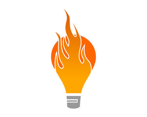 fire lamp icon of idea abstract vector